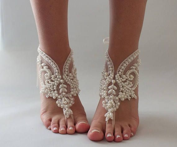 EXPRESS SHIPPING Pearl Bridal Barefoot Sandals Wedding Beach Sandal Footless Foot Jewelry