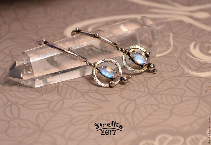 Купить Серьги Лунный Свет - wire wrap, wrap, wire, strelka, подарок, голубой