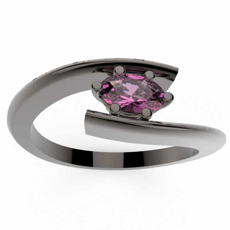 HABY OVAL, Bague Or Noir 18 carats & Diamant Blanc Ovale