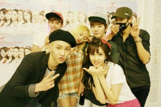"Seohyun wrote on her official homepage June 12, ""Seo Chin So! (Short for introducing Seohyun's friends) The loyal '91 line friends (Kara's Nicole, SHINee's Key, Infinite's Hoya, and Sungyeol) and the cute dongseng Infinite's Sungjong. Although they are not in the picture, miss A's Min, SHINee's Minho and Ock Joo Hyun unni who Joo Hyun (Seohyun's real name) likes the most! Thank you everybody. I have such good luck with the people I know, and I think I am a very happy individual."