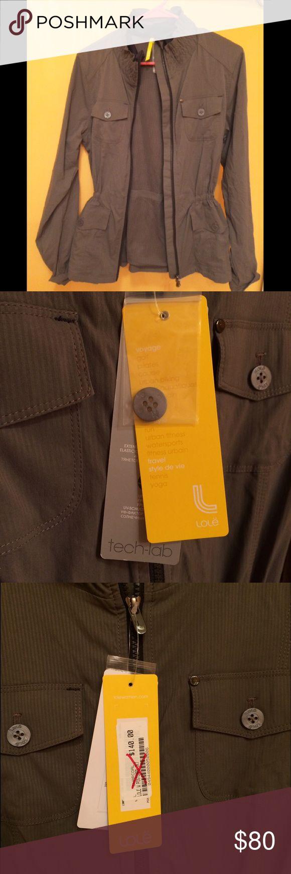 Lole jacket NWT gray. UPF 50. 95% nylon. Lole jacket NWT. Women's small. Never worn. drawstring waist. Gray with black zipper. Quick dry. 4 way stretch. UPF 50. 95% nylon. 5% elastane stretch. Lole Jackets & Coats