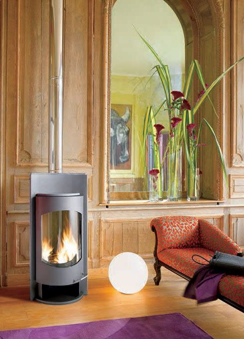 A steel stove this time from Invicta, the Attiba has a large curved window and again a distinctive look.