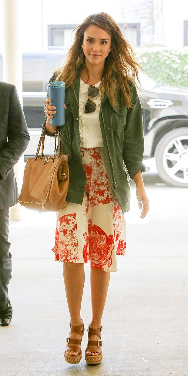 Jessica Alba floral skirt cream top green army jacket