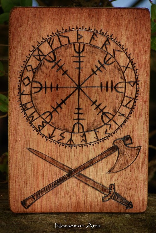 Beautiful engraving from Norseman Arts. Thanks to the Garotas Vikings for finding this treasure! It shows the Elder Futhark runes around the Icelandic stave, Ægishjálmur (better known as the Helm of Awe). You can learn more about this stave here: http://www.facebook.com/photo.php?fbid=160424630777349=a.136799796473166.31416.136646169821862=3