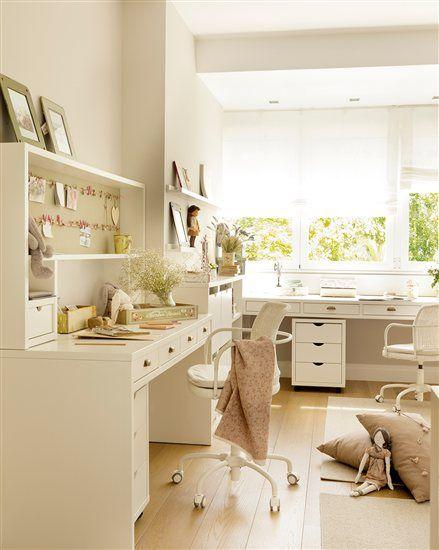 """Zona de estudio juvenil con escritorios en """"L"""""""