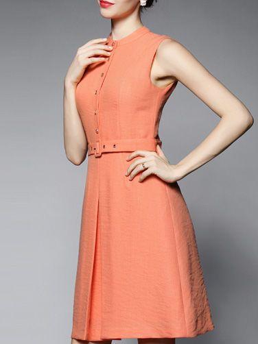 Paneled Belted #Midi #Dress #stylewe