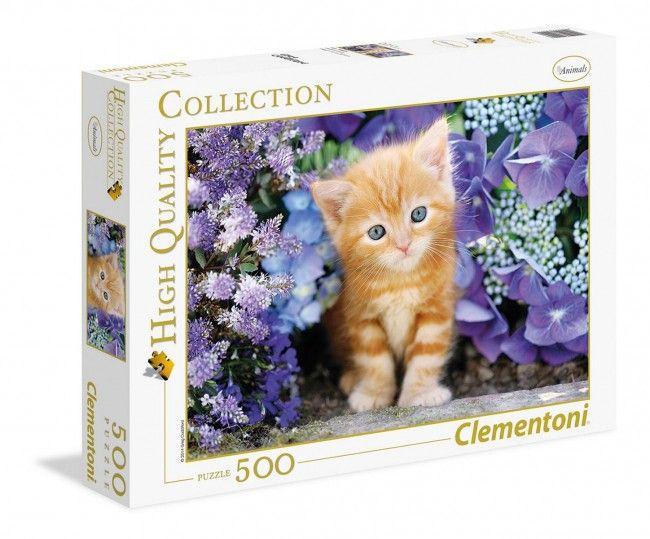 Clementoni - puzzle 500 mrc- Chat roux dans les fleurs - Castello   Jeux et Jouets