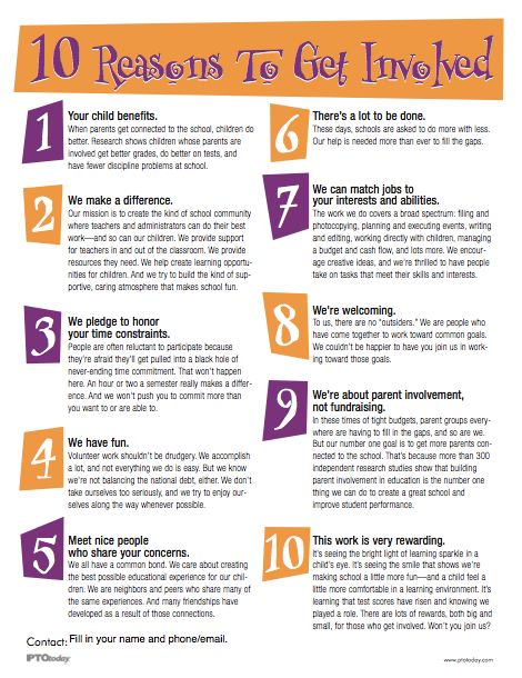 10 Reasons To Get Involved flyer. Free download! Hand out to parents at back-to-school events.