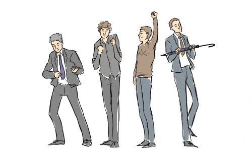 Lestrade, Sherlock, John, and Mycroft dance it out (gif). APPARENTLY I REALLY NEEDED TO SEE THIS. :)
