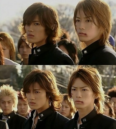 Akanishi Jin and Kamenashi Kazuya in Gokusen 2.  I've never watched it but these two together....I might watch it just for that lol