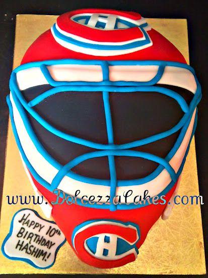 Hockey Goalie Mask Helmet Cake www.DolcezzaCakes.com