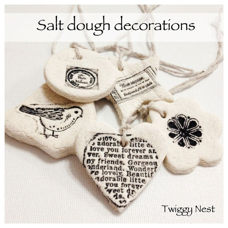 Hand stamped salt dough decorations and gift tags  - I made various bird ones and hung from a ficus tree inside...cute year-round!