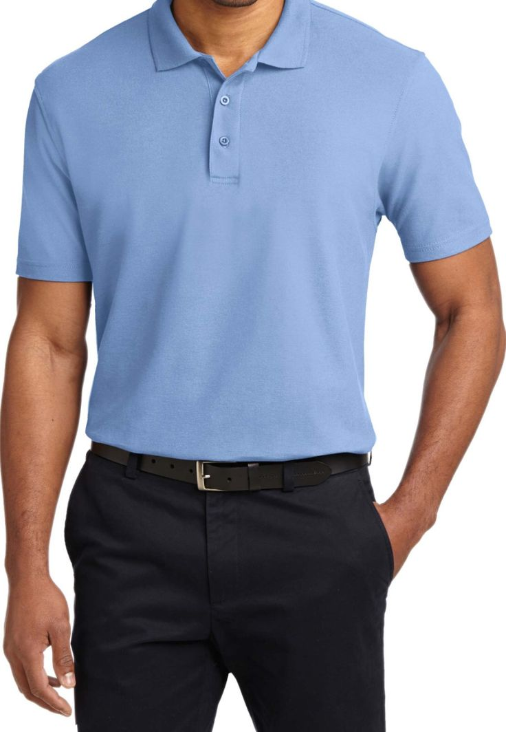 Port Authority Men's Stain Resistant Polo Tees - Light Blue - XS: This classic polo tee from Port Authority looks stylish and has added…