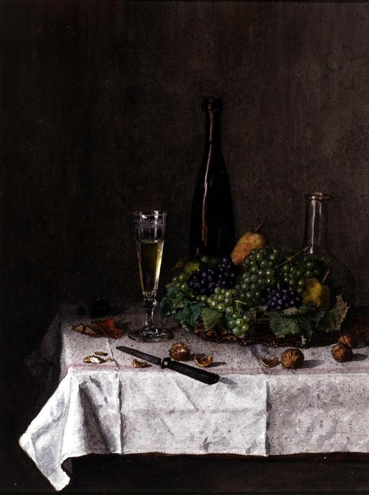 """""""Still Life: Basket of Grapes, Walnuts, and Knife"""" - Leon Bonvin (1863): Les Artists, Leone Bonvin, Bonvin Watercolor, Knifes Léon, Still Life, Bonvin 1863, Baskets, Léon Bonvin, Knives"""