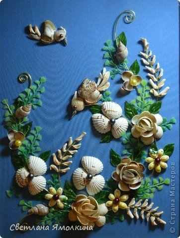 Картина панно рисунок День рождения Аппликация Ракушечная фантазия Бусины Проволока Ракушки Стекло фото 1