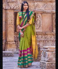Parrot Green Color Cotton Casual Party Sarees : Adrisha Collection  YF-40064