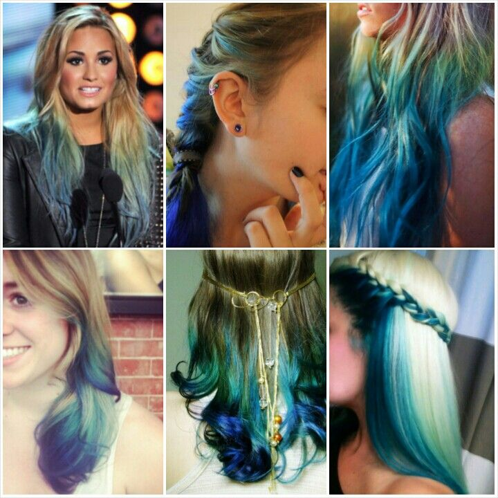 dirty blonde to teal to rockabilly blue ombre | Hairy ...