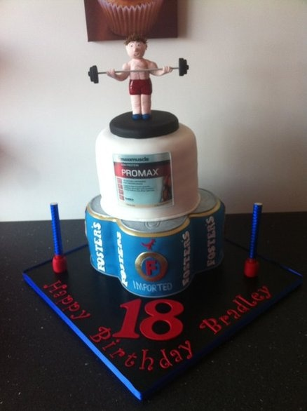 Beer and bodybuilder cake - by Donnajanecakes @ CakesDecor.com - cake decorating website