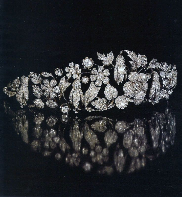 "Diamond Tiara Known as the ""Fuchsien Diadem"", by Köchert,  ca. 1845, composed of fuchsias, buds, wild roses and foliage, set with diamonds and rose cut diamonds, mounted in gold and silver, belonged to the Princely House of Thurn and Taxis. http://www.royal-magazin.de/german/thurn-taxis/taxis-fuchsia-tiara.htm"