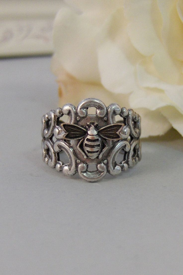 Queenie's Ring,Ring,Bee,Silver Ring,Silver Bee,Ring,Flower Ring,Antique Ring,Antique Silver.Handmade jewelery by valleygirldesigns..  via Etsy.