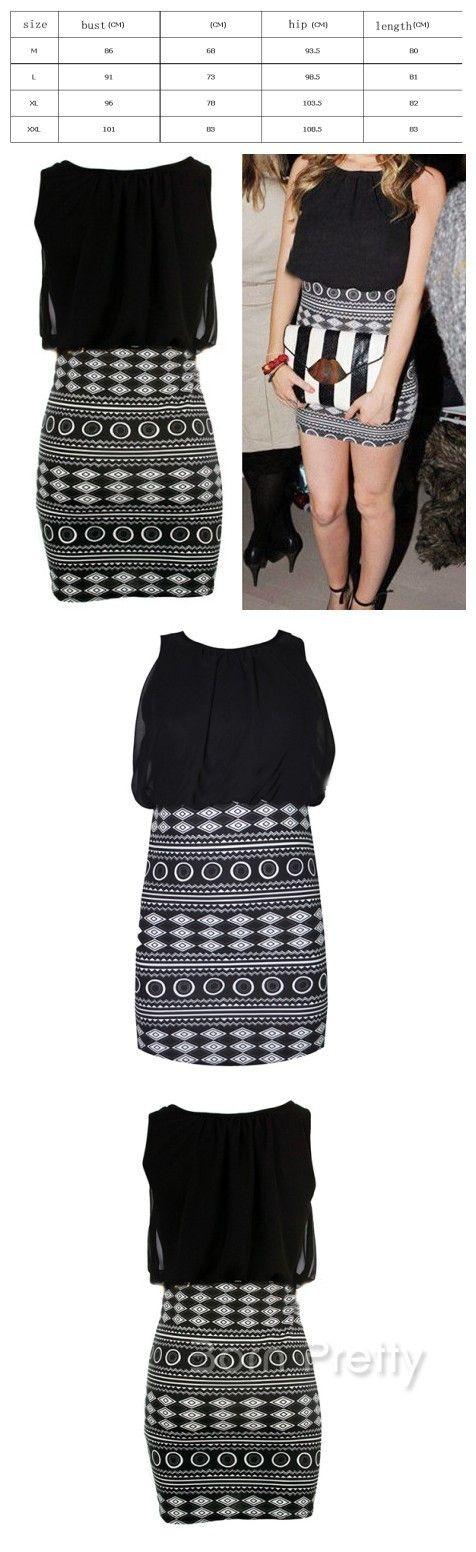 $27.44 Geometric Figure Print Dress Women's Over Hip Splicing Mini Dress - BornPrettyStore.com