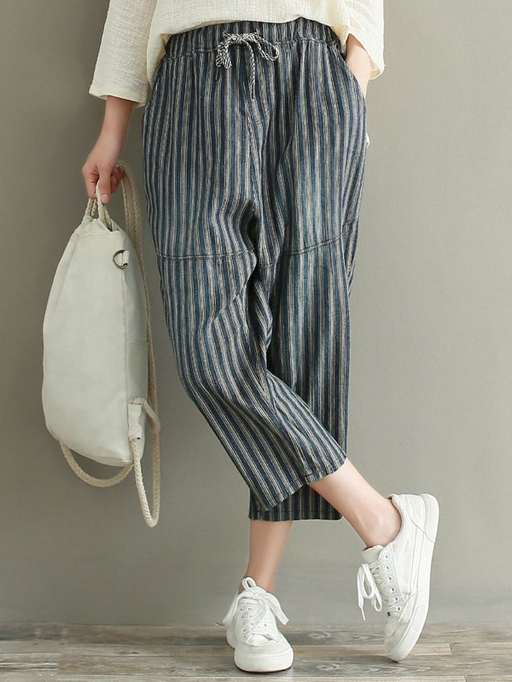Stripe Drawstring Waist Women PantsStripe Drawstring Waist Women Pants