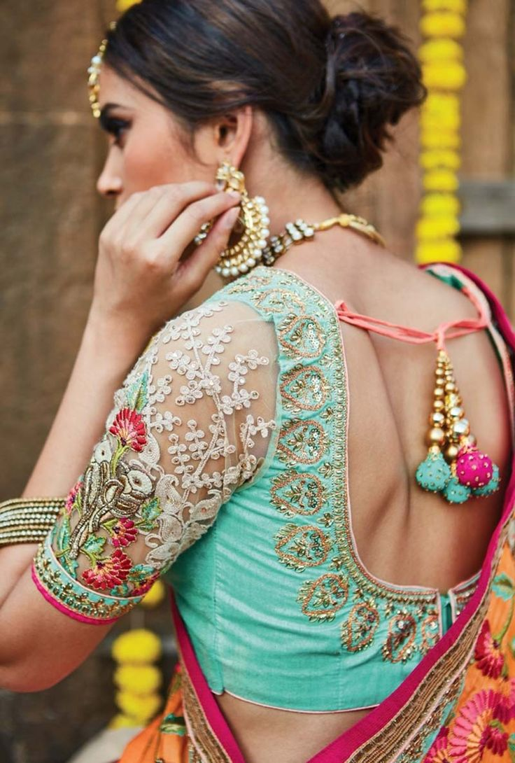 wedding saree with designer #blouse at https://www.variation.in/collections/bridal-sarees