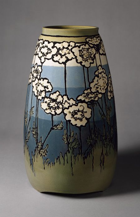 """vase in the Arts & Crafts style by Sara Galner, 1915; """"The Saturday Evening Girls Club was formed as an organization to educate and train immigrant girls of Boston. The Paul Revere Pottery was established to provide an income to young women through the creation of dynamic pottery."""" Some, like Ms. Glasner, progressed to a more sophisticated style."""
