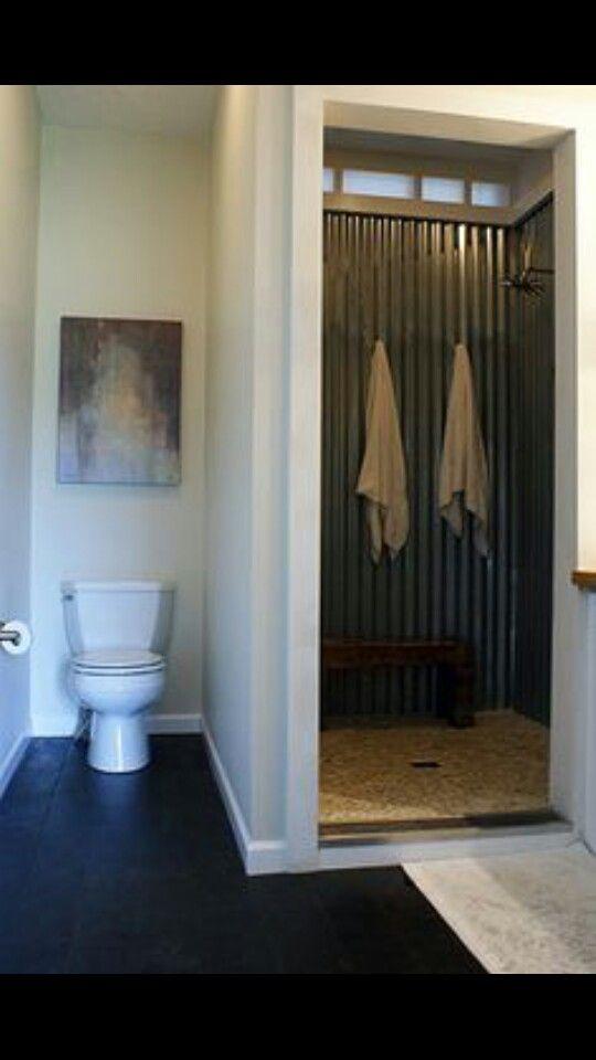 Galvanized Corrugated Metal Shower   Sean U0026 Mandiu0027s Custom, Modern Modular  Home