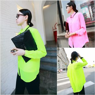 Aliexpress.com : Buy 520 2013 spring and summer female shirt fashion neon color chiffon shirt female long sleeve from Reliable shirt fashion...
