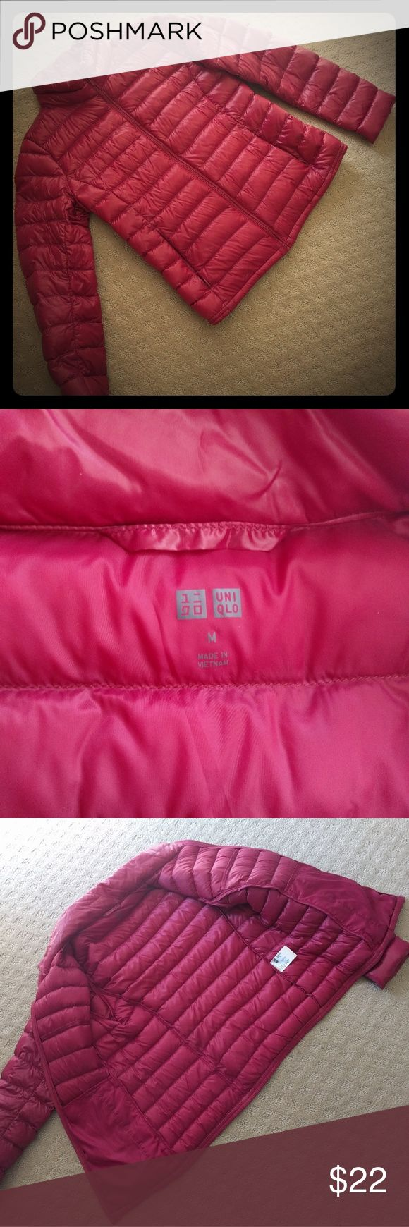 SOLD Uniqlo puffer down jacket in M Uniqlo puffer down jacket in dark pink. It's like brand new only worn less than 5 times. Too big on me. SOLD Uniqlo Jackets & Coats Puffers