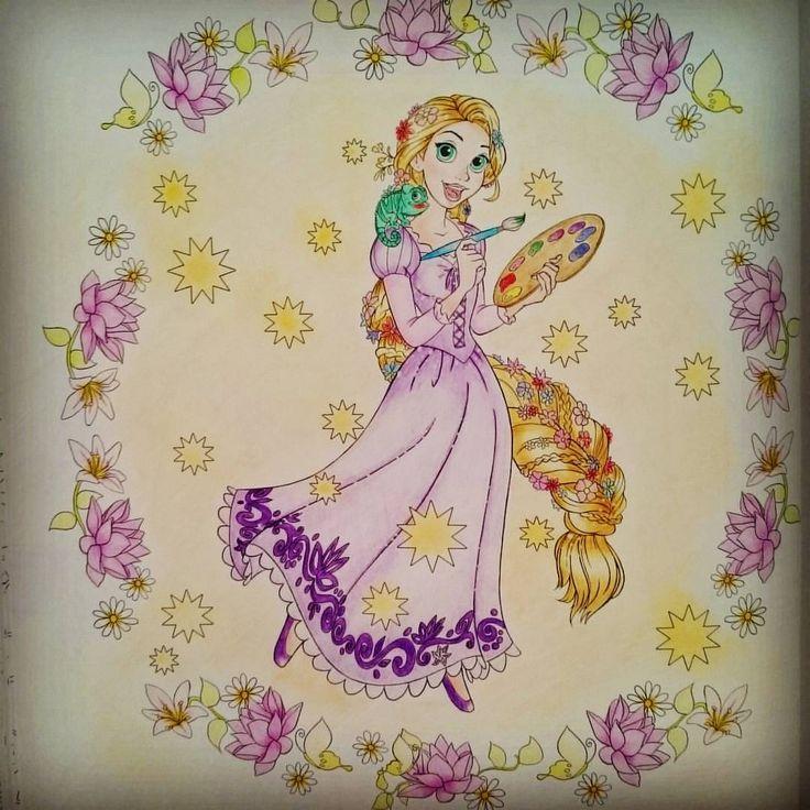 久々にぬり絵ができた~😂自分以外の時間が止まってほしい💨💨 #ディズニー#塔の上のラプンツェル #ディズニープリンセス #ラプンツェル #ディズニーガールズカラーリングブック #世界の花模様を楽しむデ - acchan_0226