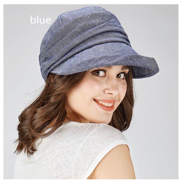 Fashion plain linen sun hat for women UV newsboy caps