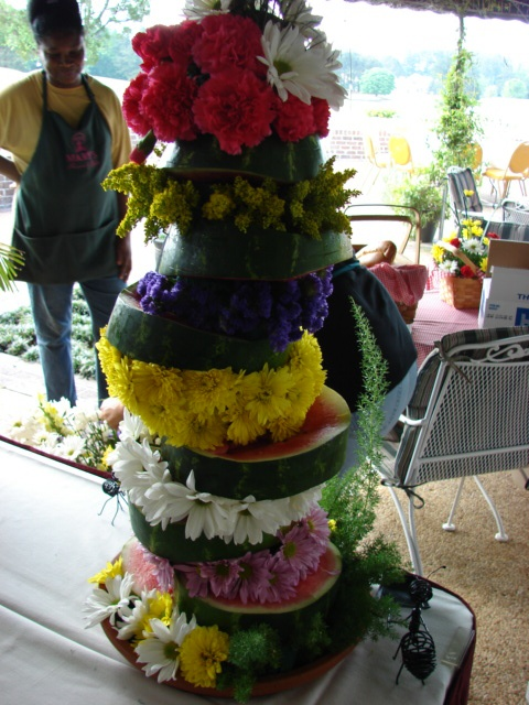 Fresh Flower Watermelon Centerpiece for Picnic Buffet Table