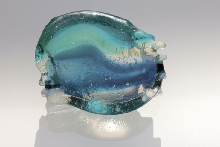 """Wave"" Kiln cast glass pebble by Robyn Manning"