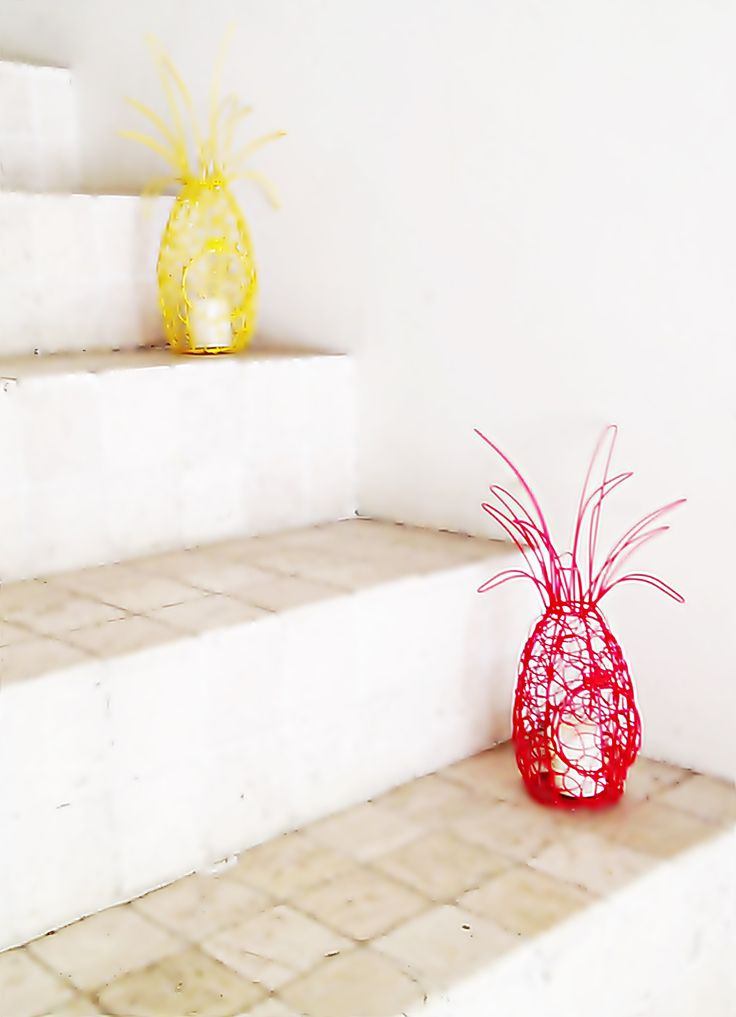 wrought iron pineapple candle holder