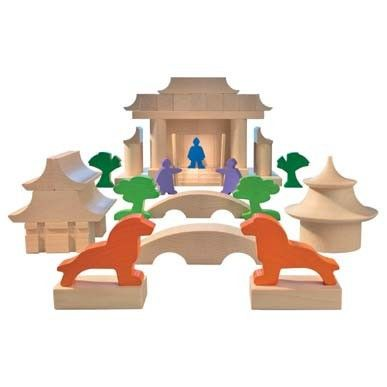 Japanese Building BlocksJapanese architecture dates back centuries and its iconic forms and philosophies are known all over the world. Complicated multi-tier roofs and ornate pagodas allow the builder to create temples, palaces or calming formal gardens. With this set your child can take their imagination on a trip to Japan from the safety of their own living room.  Made from beech wood in China.  Ages 6+ $45.00