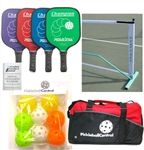 Deluxe Pickleball Set - Portable Pickleball Net, Four Pickleball Paddles, Eight Pickleballs and Rule Book