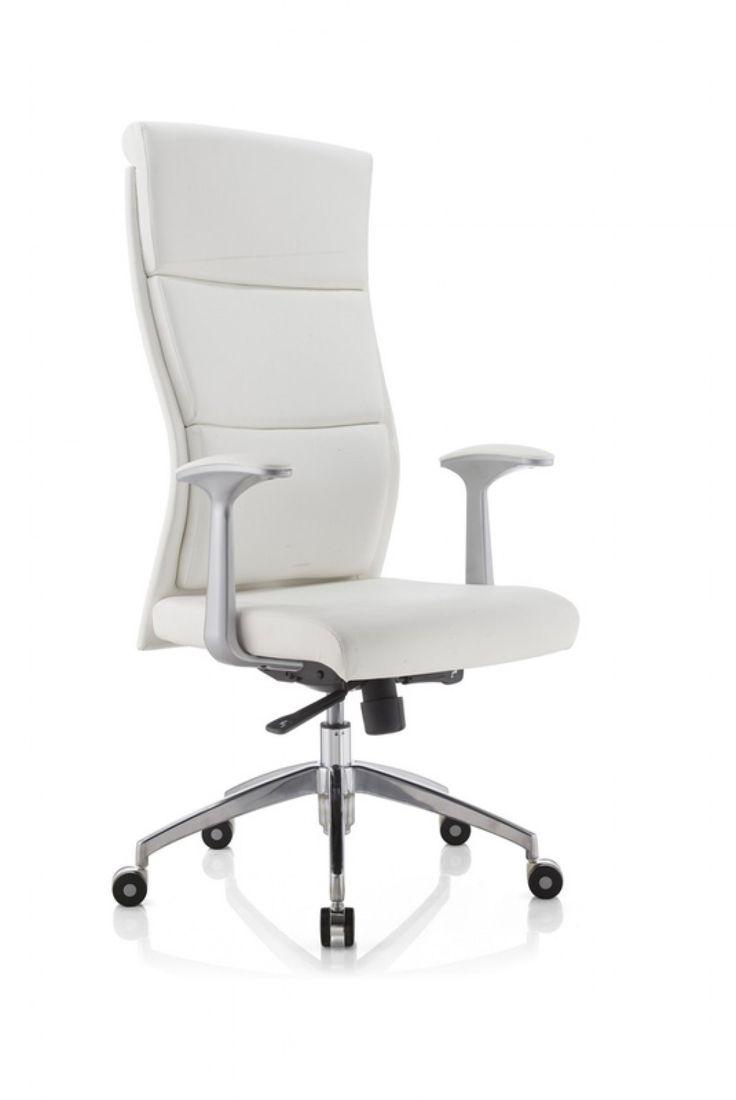Modrest Ellison Modern White High-Back Office Chair VGFU8134A-WHT Product: 71725 Features : - Upholstered In White Leatherette - Aluminium Armrests - Ergonomic Design - Padded Headrest - Gas-Lift Adju