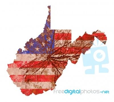 West Virginia Map Flag Pattern Stock Image