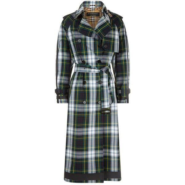 Burberry Tartan Trench Coat (2,900 CAD) ❤ liked on Polyvore featuring outerwear, coats, military style trench coat, plaid coat, burberry coat, military trench coat and trench coats