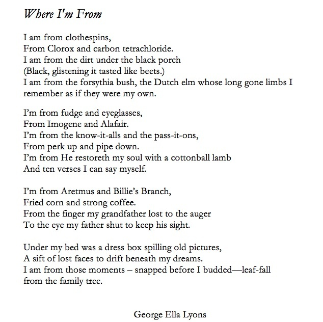 Where I Am From Poems Examples 6