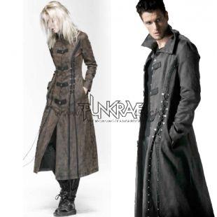 Lungo cappotto unisex gotica con allacciatura steampunk