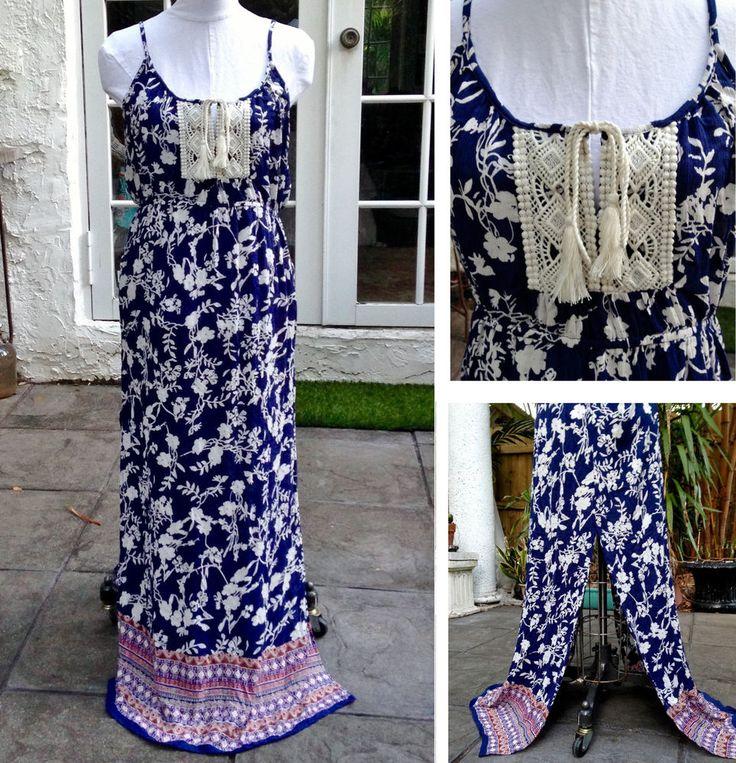 Check out #FloralDress #MaxiDress Navy Cream #Flowers #BohoChic #Hippie #Crochet #Tassels Adjustable Straps Tie Waist... #Bohemian #Beachy #Floral