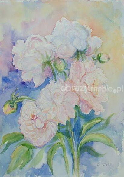 Piwonia III. Kompozycja kwiatowa pełna delikatności oraz uroku, świetnie zaprezentuje się w każdym wnętrzu. Praca wykonana techniką akwareli na papierze 300 g, bez oprawy.