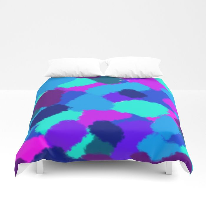 Duvet Cover Cold colours fantasy Abstract design with bright brush strokes. Cold colours. digital, sponge, brush, pattern, pop-art, artwork, multicoloured, colourful, bright, cold, colours, cool, blue, pink, purple, cyan, strokes, abstract, society6, gifts, shopping, buy, sell, unique  #artwork #abstract #bright #coldcolours #society6 #duvetcover