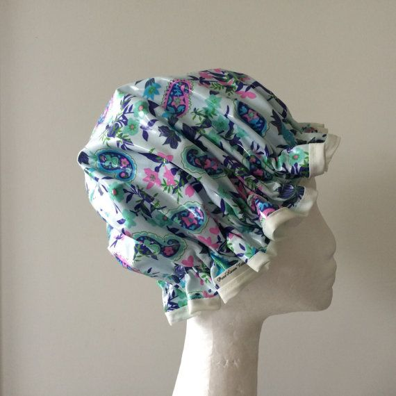 Shower Cap. Handmade. PVC & BPA Free. Laminated Cotton. Eco - Friendly. Gift For Her. Fabric by Amy Butler .