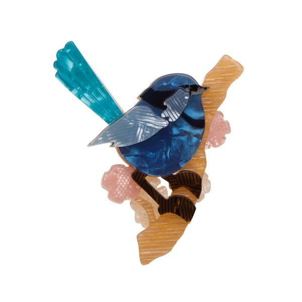 """Limited Edition Phoebe the Fairy Wren resin brooch (Australiana Collection - Autumn 2015). """"Presented with a yellow petal from one of her many suitors. Phoebe simply flys away."""""""