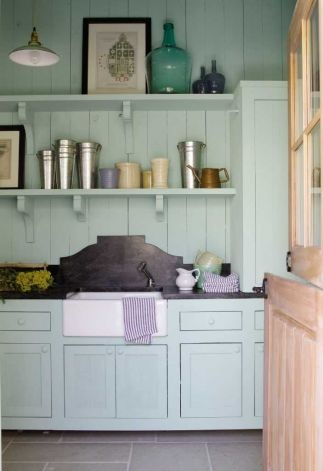 pale turquoise: Kitchens, Ideas, Cabinets Colors, Open Shelves, Southern Living, Houses, Paintings Colors, Laundry Rooms, Farmhouse Sinks