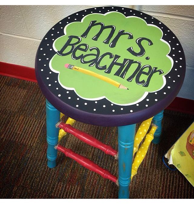 Custom hand-painted teacher's stool by @KenzieCurran of The South Pasture